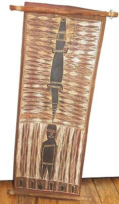 .c1940/50s SUPERB LARGE ABORIGINAL BARK PAINTING, GOANNA & MAN. ARNHEM LAND