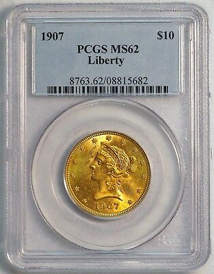 1907 $10 US Liberty Head Gold Eagle Coin (PCGS MS 62 MS62) (08371)