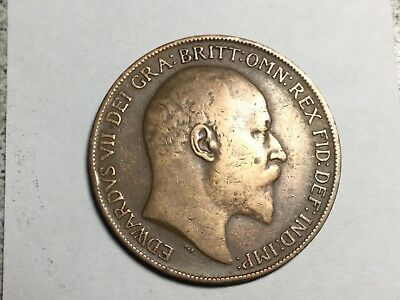 GREAT BRITAIN 1909 1 Penny coin circulated