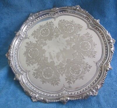 antique 1870s MARTIN HALL & Co Sheffield footed silver plated Round TRAY SALVER