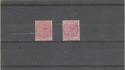 TOBAGO 1880 QUEEN VICTORIA  2 X SG15 1d RED MINT AND USED STAMPS