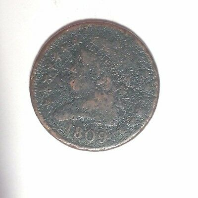 1809 Circle Inside 0 Variety Half Cent Classic Head.  Affordable Type Coin.