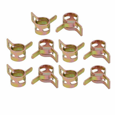 10 Pcs 9mm Spring Band Type Action Fuel Hose Pipe Air Clamp Bronze Tone