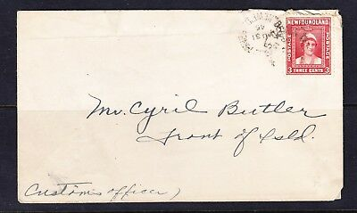 Newfoundland cover tied with Sc # 255 with FRONT OF ISLAND address !!!