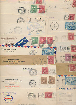1943-45 Lot of 20 Various Blackout Cancels on Covers, CDS Slogans, Machines