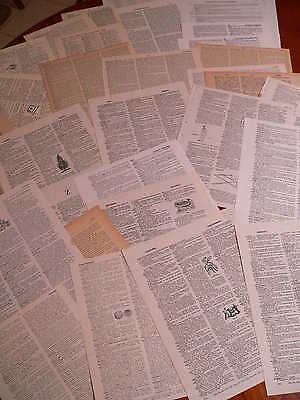 30 Vintage papers,page dictionary old books use 4 mix media, decoupage, art lot5