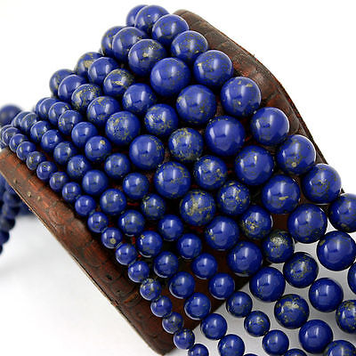 Natural  Lapis Lazuli Gemstone Round Spacer Loose Beads DIY 4 6 8 10 12mm