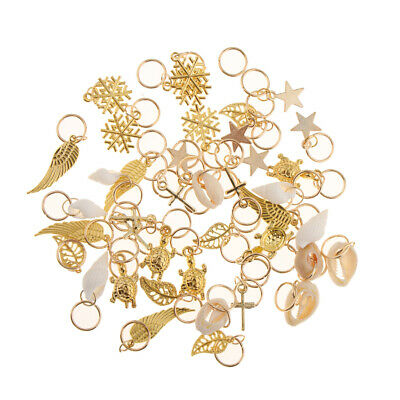 50pcs Hair Ring Braid Rings Shell Feather Cross Hair Loops Clips Accessories