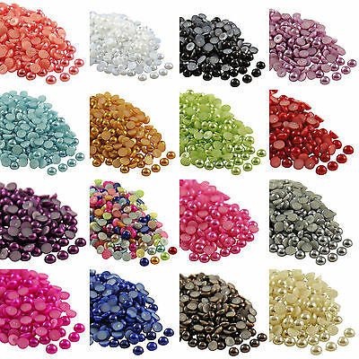 2000x Half Pearl Round Bead Flat Back Scrapbook for Craft Flat Back 2mm--8mm