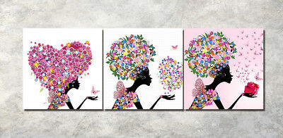 "3Parts Home Wall Decor Love flowers 16x16"" Art Printed Painting on Canvas 1209"
