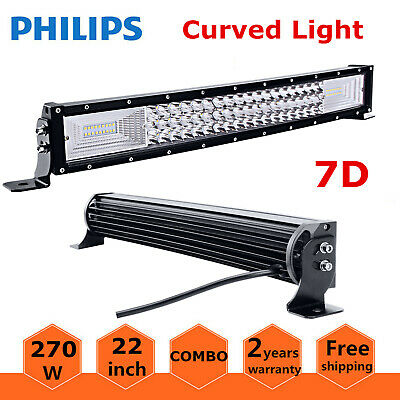 """7D Tri-Row 22""""inch 270W Curved LED Light Bar Spot+Flood Combo BOAT Ford PK 120W"""