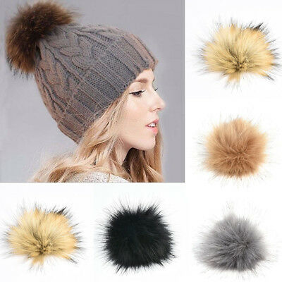 Large Faux Raccoon Fur Pom Pom Ball with Press Button for Knitting Women Hat DIY