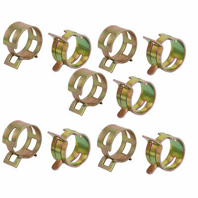 10 Pcs 18mm Spring Band Type Action Fuel Hose Pipe Air Clamp Bronze Tone
