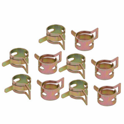 10 Pcs 11mm Spring Band Type Action Fuel Hose Pipe Air Clamp Bronze Tone