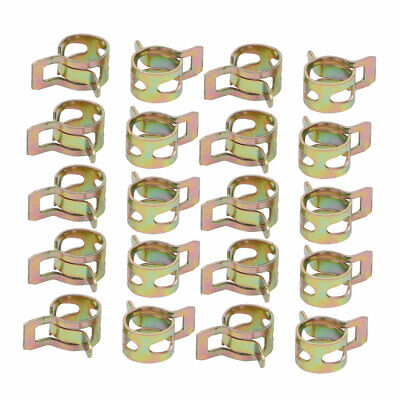20 Pcs 8mm Spring Band Type Action Fuel Hose Pipe Air Clamp Bronze Tone
