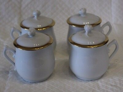 Set of 4 Royal Worcester White & Gold Chocolate or Custard Cups
