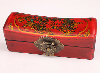 Authentic Chinese Traditional Red Leather Long Phoenix Decorated Jewelry Box Wed