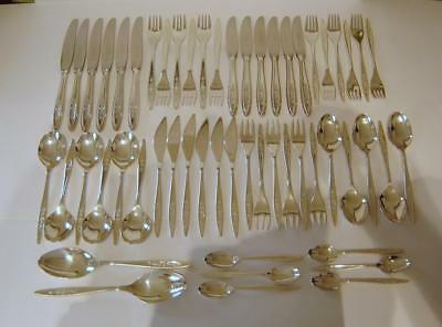 A Flower Embossed 55 Piece De Montfort Sheffield Silverplated Canteen Of Cutlery