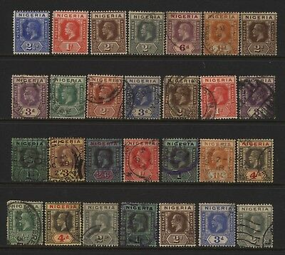 Nigeria Collection 28 KGV Values (Unsorted wmks / Perfs) Used