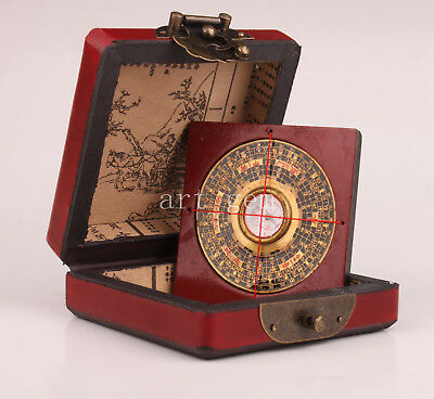 Leather Wood Geomantic Compass Household Tool Collectable Old Decoration