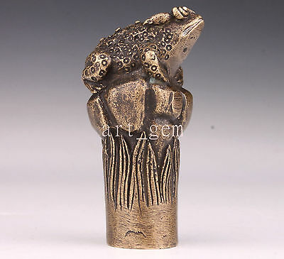 Bronze Statue Frog Cane Walking Stick Head Handle Accessories Statue