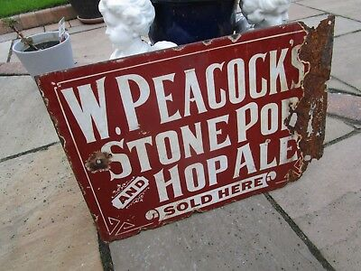 vintage 1914 W Peacocks Hop Ale sold here enamel Sign condition D Side 2 colours
