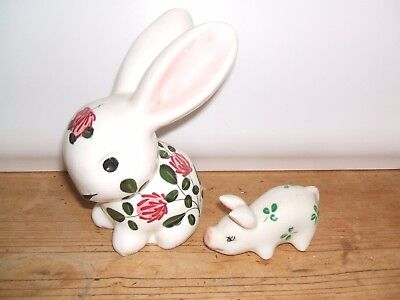 """5"""" Crazed Clover Rabbit With Hole For A Candle  And Shamrock Pig Plichta"""