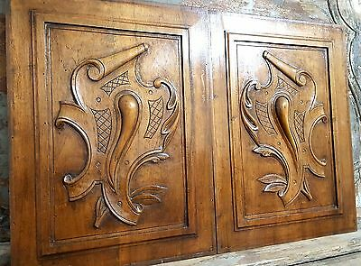 CARVED WOOD PANEL ANTIQUE FRENCH MATCHED PAIR WALNUT COAT OF ARMS CARVING 19 th