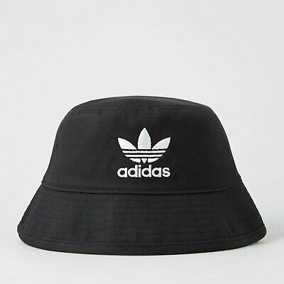 adidas Originals Men s Trefoil Logo Bucket Hat Cotton Twill - Black   White b1368338fa58