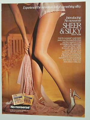 1986 No Nonsense Sheer & Silky Pantyhose Vintage Ad Page Long Sexy Legs Lingerie