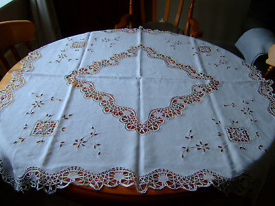 "Beautiful Antique Ivory Linen Tablecloth Hand Crochet & Cutwork 42""sq.Superb!"