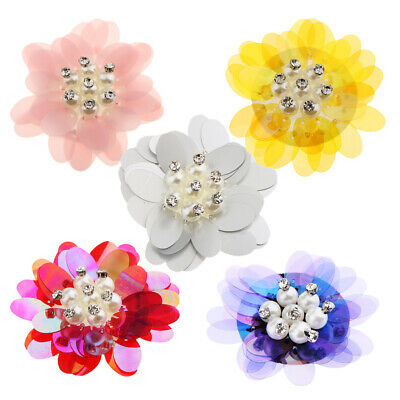 Flower Embroidery Bead Sequins Rhinestone Applique Patch Dress Cloth Accessories