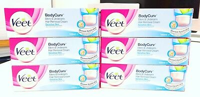 6 x VEET 100ml BodyCurv  Bikini & Underarm Hair Removal Cream
