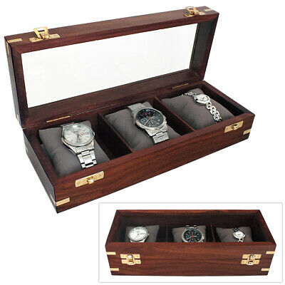 3 Watch Wooden Storage Box & Display Case Watchbox With Glass Viewing Window