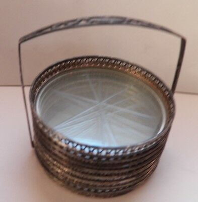 Sterling Silver Rim Glass Star Coasters with Sterling Caddy