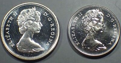 (2) 1967 Proof CANADIAN COINS; 1) Silver Quarter & 1) Clad Nickel   A2650