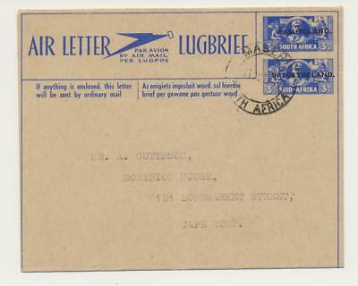 BASUTOLAND 1944, 3d AIR LETTER (OVPT ON SOUTH AFRICA) TO CAPE TOWN, SCARCE ITEM
