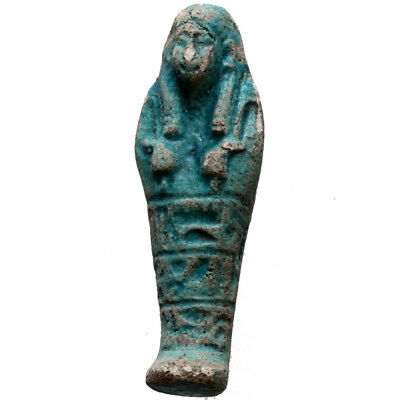 Ptolemaic Period Ancient Egyptian Blue Faience Pendant Shabti Circa 300 Bc