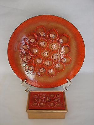 """Mid 20thC SASCHA BRASTOFF Enameled on Copper Charger 11 3/4"""" Jewelry Box signed"""