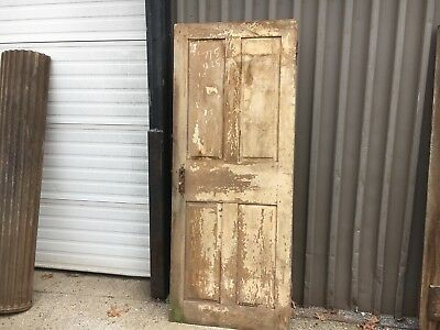 "c1830-40 raised four panel door old paint mortised & pegged 77.5"" h x 31.25"" w"