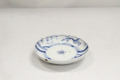 Vintage Chinese Porcelain Blue White Trees Dots Fluted Rim Saucer Blue Ring #5