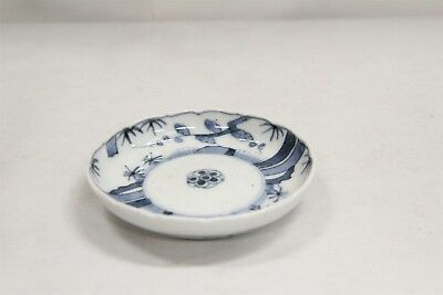 Vintage Chinese Porcelain Blue White Trees Dots Fluted Rim Saucer Blue Ring #2