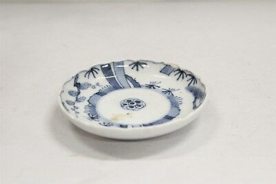 Vintage Chinese Porcelain Blue White Trees Dots Fluted Rim Saucer Blue Ring #3