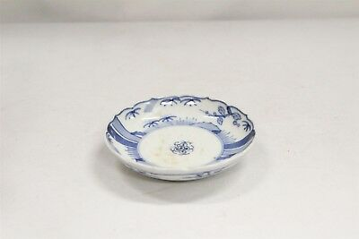 Vintage Chinese Porcelain Blue White Trees Dots Fluted Rim Saucer Blue Ring #7