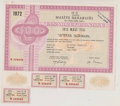 Turkish bond. 100 Lira. 1972. (UU)