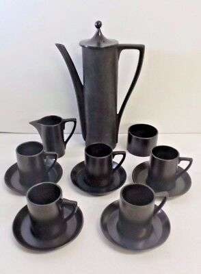 Vintage Retro 1960's Portmeirion Plain Black Coffee Set By Susan Williams-Ellis
