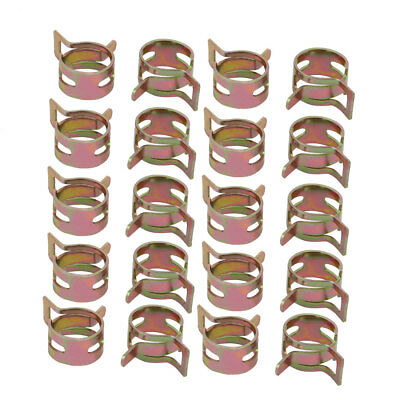 20 Pcs 12mm Spring Band Type Action Fuel Hose Pipe Air Clamp Bronze Tone