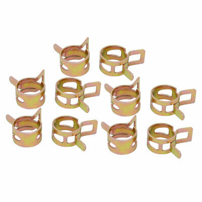 10 Pcs 15mm Spring Band Type Action Fuel Hose Pipe Air Clamp Bronze Tone