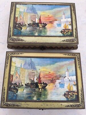 Pair Antique Large Cake Biscuit Tin Display Cafe Authentic Venice Kitchenalia