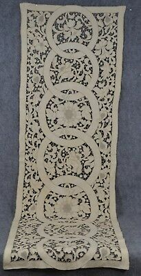 runner needle lace linen off white 19 x 56 in very good antique original